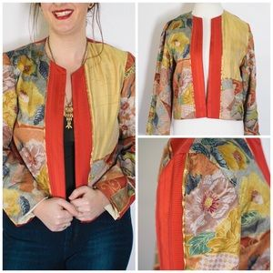 Pink and Gold Floral Bomber Style Jacket